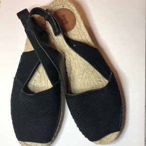 French Connection Black Suede Espadrille Sandals